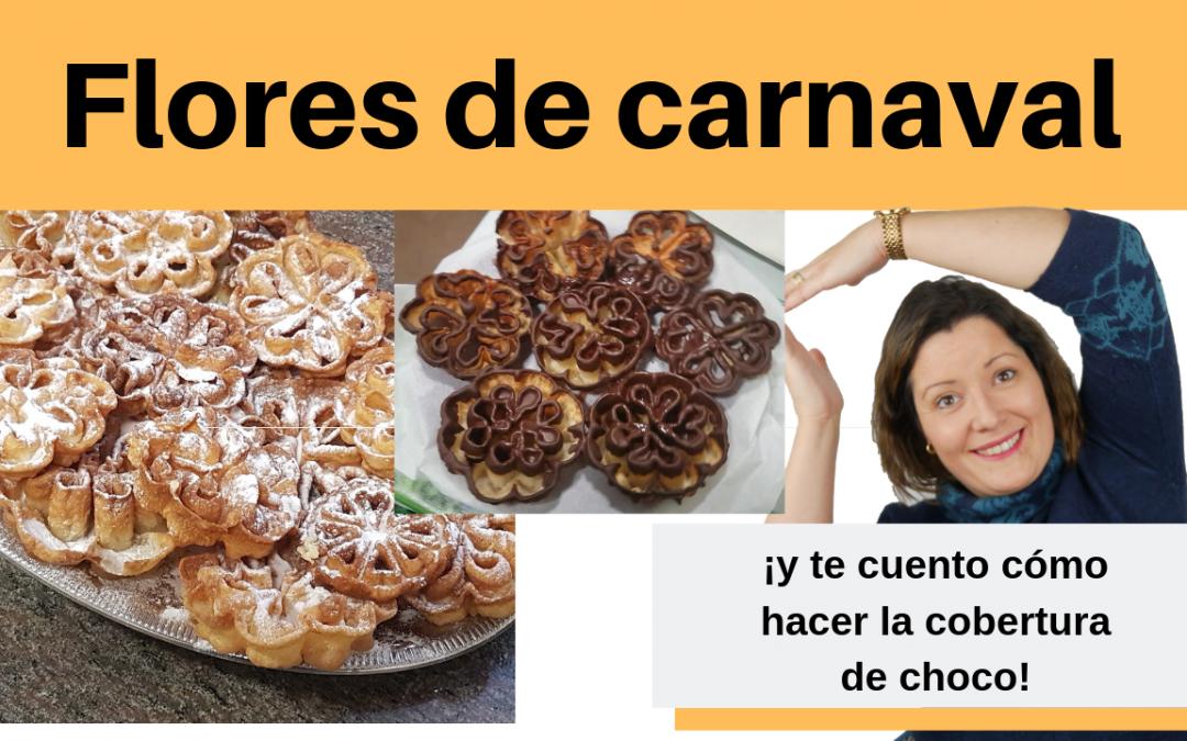 Receta de flores de carnaval tradicional y con cobertura de chocolate